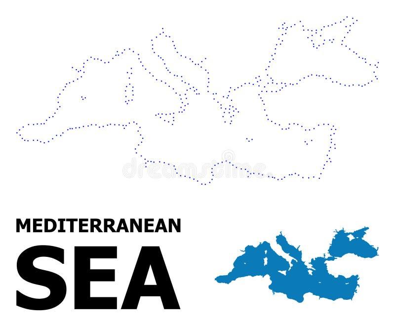 Mapa punteado contorno del vector del mar Mediterráneo con nombre stock de ilustración