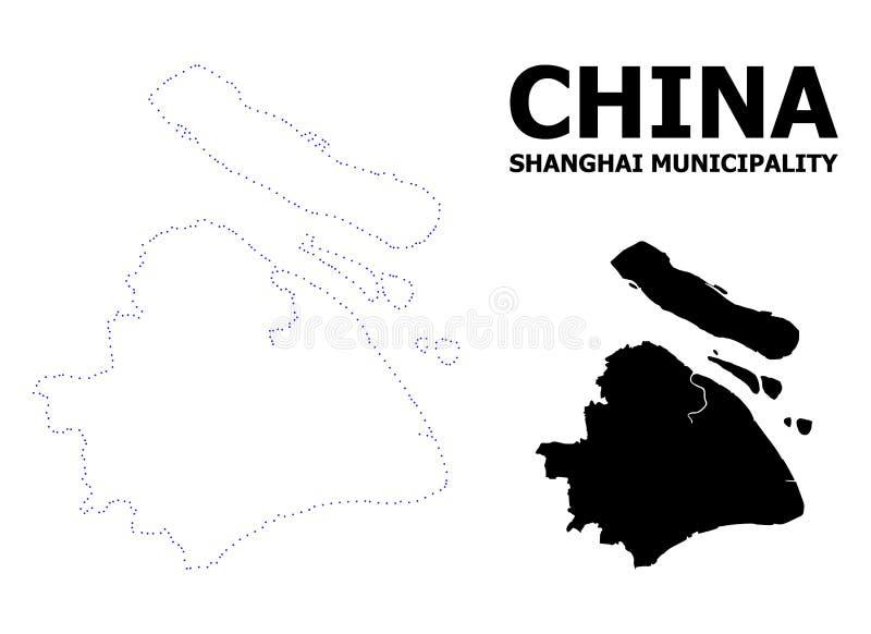 Mapa punteado contorno del vector del municipio de Shangai con nombre ilustración del vector