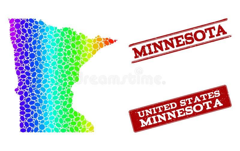 Mapa punteado del espectro de los sellos del sello del estado y del Grunge de Minnesota ilustración del vector