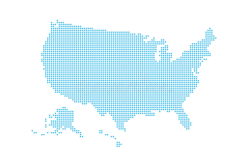 Mapa punteado del estilo de los E.E.U.U. y del fondo blanco libre illustration