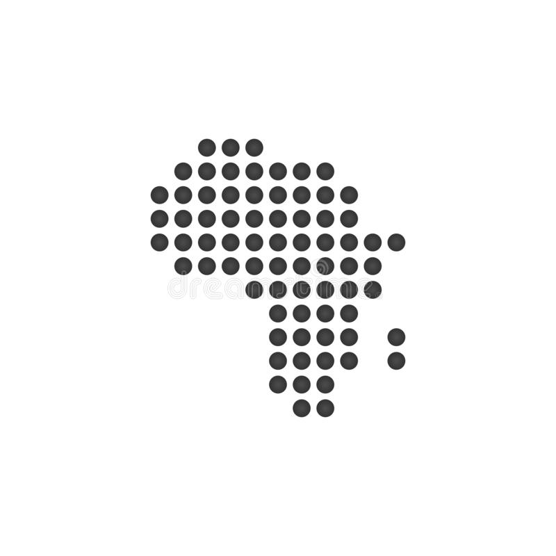 mapa punteado del icono de África, ejemplo del vector aislado en el fondo blanco libre illustration