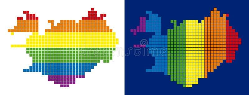 Mapa punteado pixel de Islandia del espectro stock de ilustración