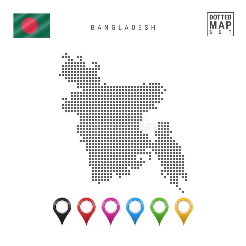 Mapa punteado vector de Bangladesh Silueta simple de Bangladesh Indicador de Bangladesh Sistema de marcadores multicolores del ma libre illustration