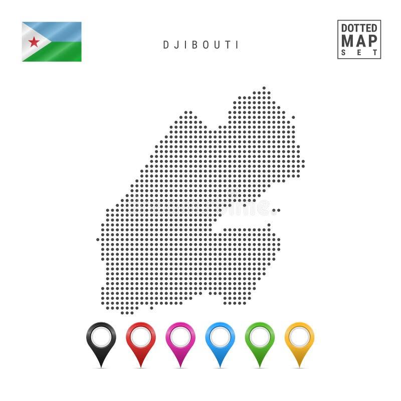 Mapa punteado vector de Djibouti Silueta simple de Djibouti Bandera nacional de Djibouti Sistema de marcadores multicolores del m libre illustration