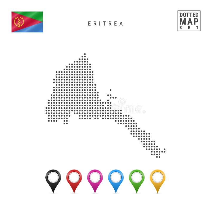 Mapa punteado vector de Eritrea Silueta simple de Eritrea Bandera nacional de Eritrea Sistema de marcadores multicolores del mapa stock de ilustración