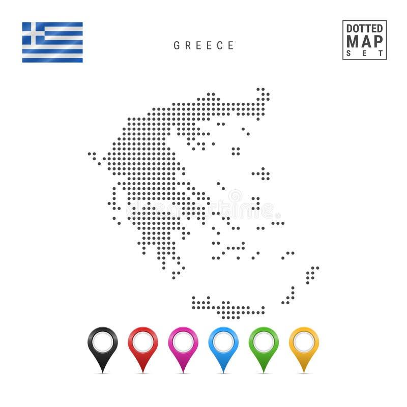 Mapa punteado vector de Grecia Silueta simple de Grecia La bandera nacional de Grecia Sistema de marcadores multicolores del mapa stock de ilustración