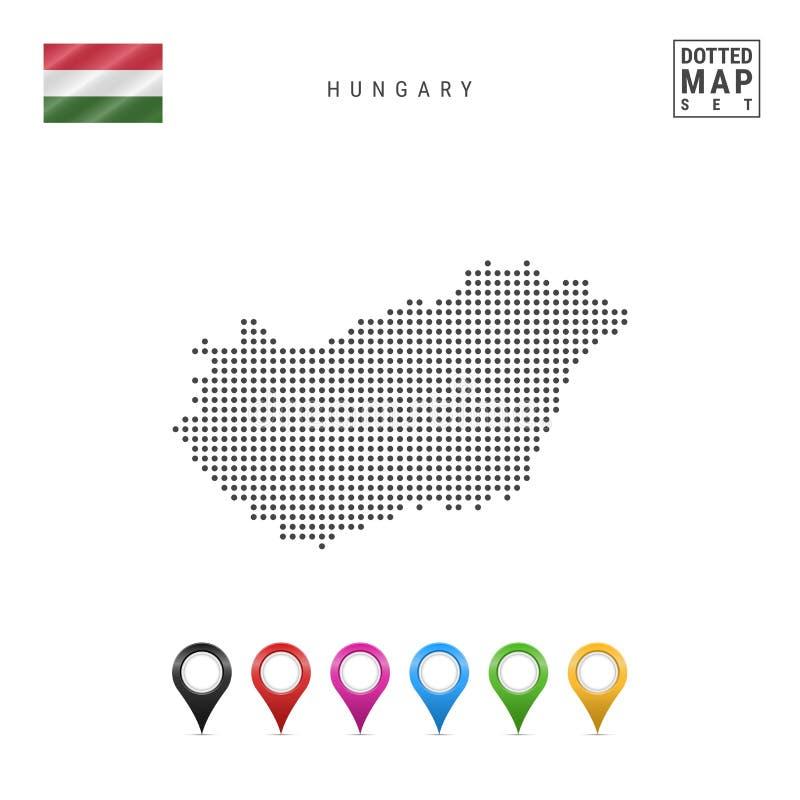 Mapa punteado vector de Hungría Silueta simple de Hungría Indicador nacional de Hungría Sistema de marcadores multicolores del ma ilustración del vector
