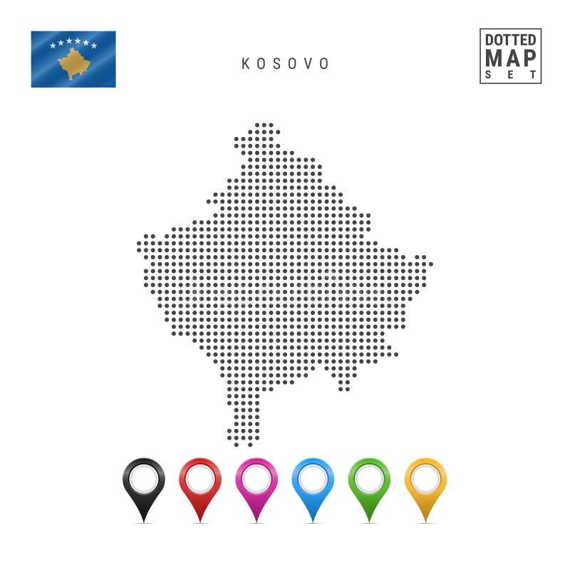 Mapa punteado vector de Kosovo Silueta simple de Kosovo La bandera nacional de Kosovo Sistema de marcadores multicolores del mapa stock de ilustración