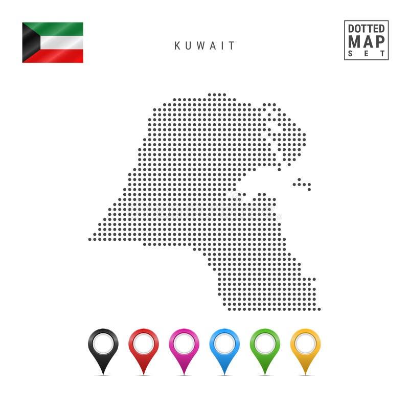 Mapa punteado vector de Kuwait Silueta simple de Kuwait La bandera nacional de Kuwait Sistema de marcadores multicolores del mapa libre illustration