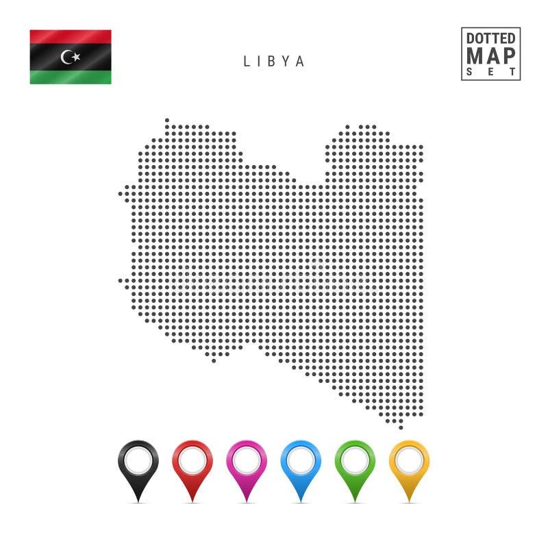 Mapa punteado vector de Libia Silueta simple de Libia La bandera nacional de Libia Sistema de marcadores multicolores del mapa ilustración del vector