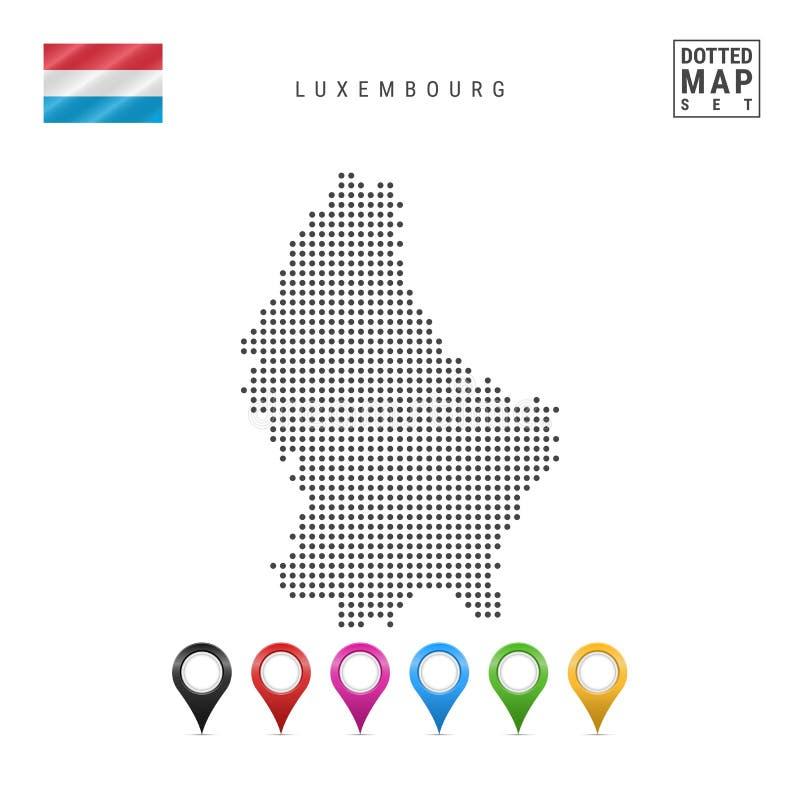Mapa punteado vector de Luxemburgo Silueta simple de Luxemburgo Indicador de Luxemburgo Sistema de marcadores multicolores del ma ilustración del vector