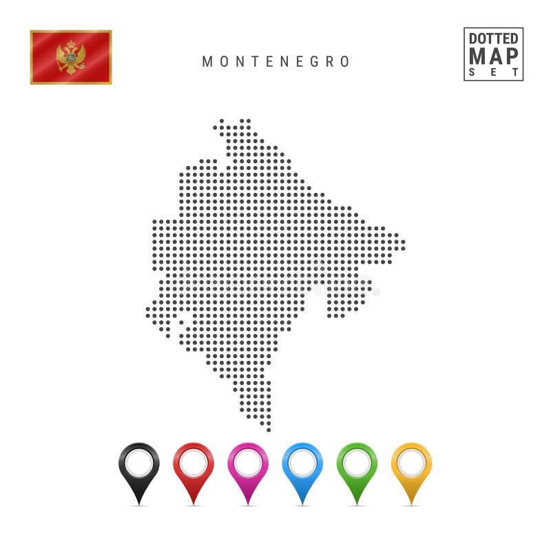 Mapa punteado vector de Montenegro Silueta simple de Montenegro Indicador de Montenegro Sistema de marcadores multicolores del ma stock de ilustración
