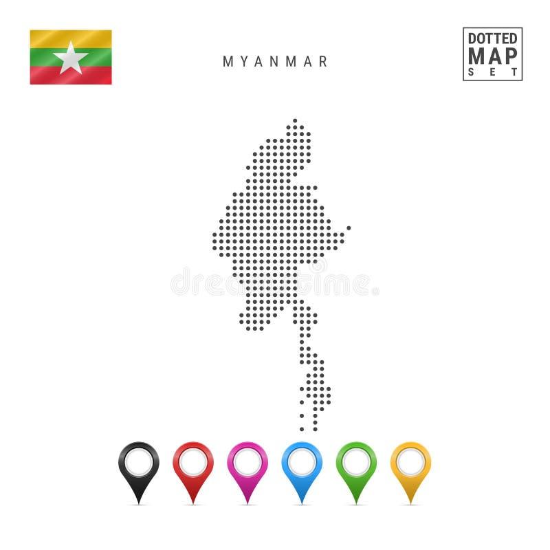 Mapa punteado vector de Myanmar Silueta simple de Myanmar Bandera nacional de myanmar Sistema de marcadores multicolores del mapa ilustración del vector