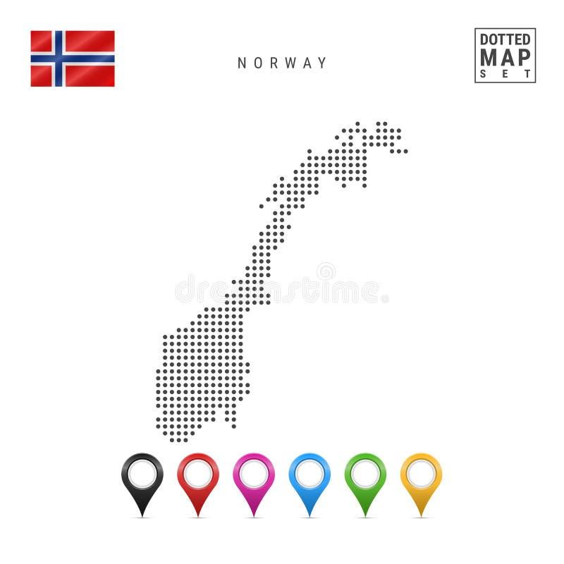Mapa punteado vector de Noruega Silueta simple de Noruega La bandera nacional de Noruega Sistema de marcadores multicolores del m ilustración del vector