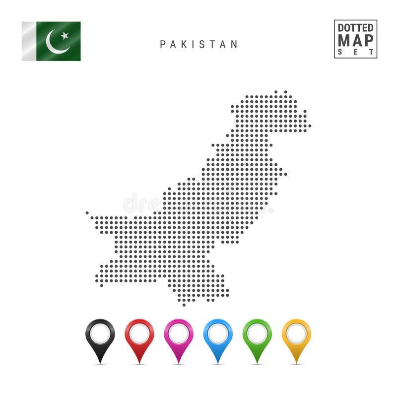 Mapa punteado vector de Paquistán Silueta simple de Paquistán Bandera nacional de Paquistán Sistema de marcadores multicolores de ilustración del vector