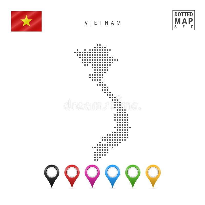 Mapa punteado vector de Vietnam Silueta simple de Vietnam Bandera nacional de Vietnam Sistema de marcadores multicolores del mapa ilustración del vector