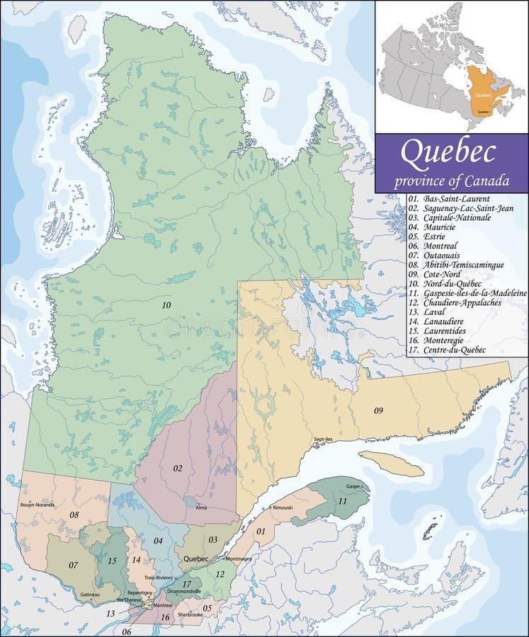 mapa Quebec ilustracji