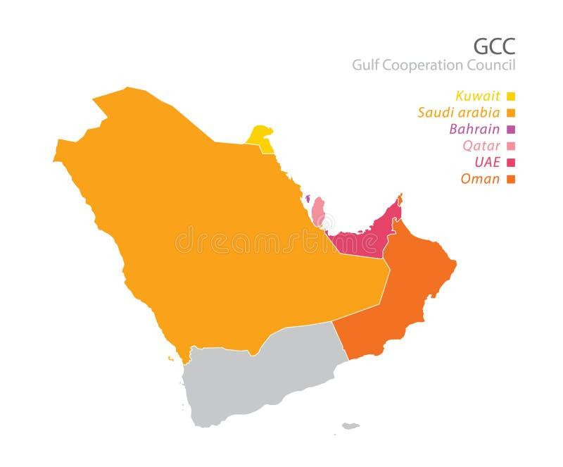Mapa rada współpracy zatoki perskiej GCC ` s członkowie wektor royalty ilustracja
