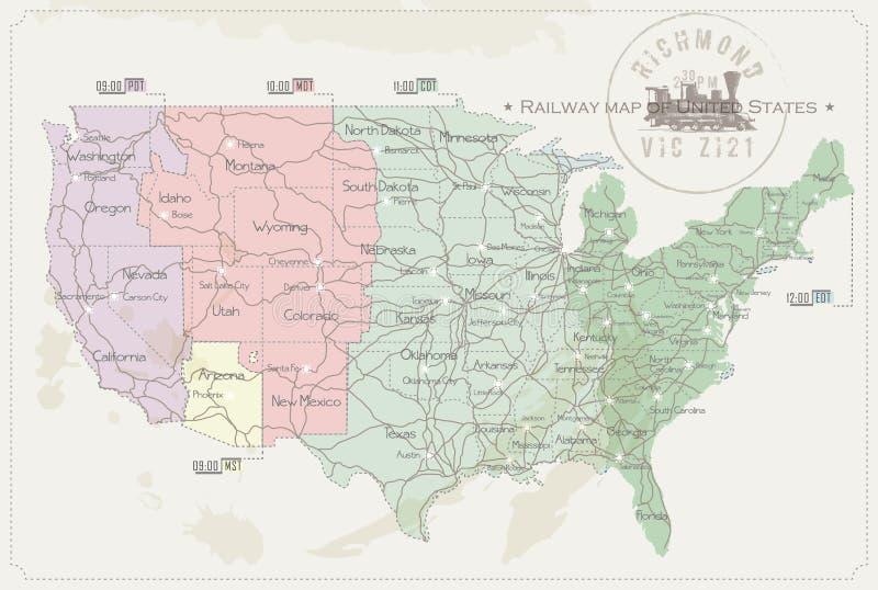 Mapa Railway do Estados Unidos ilustração royalty free