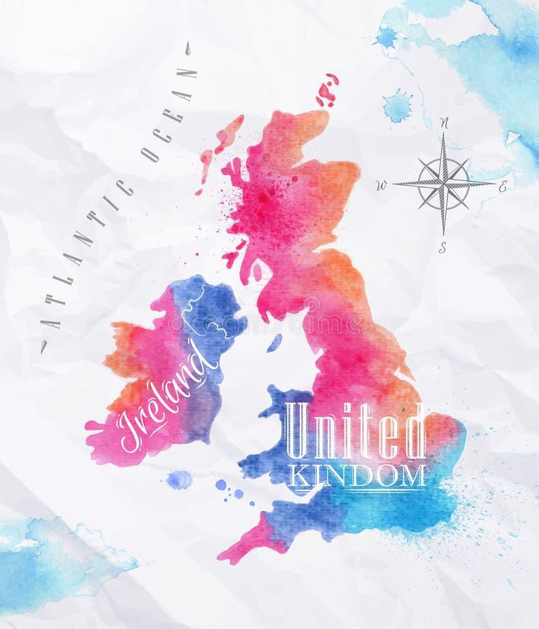 Mapa Reino Unido de la acuarela y rosa de Escocia stock de ilustración