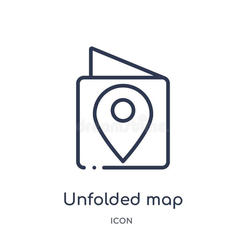 mapa revelado con el icono de la marca de ubicación de la colección del esquema del viaje La línea fina reveló el mapa con el ico stock de ilustración