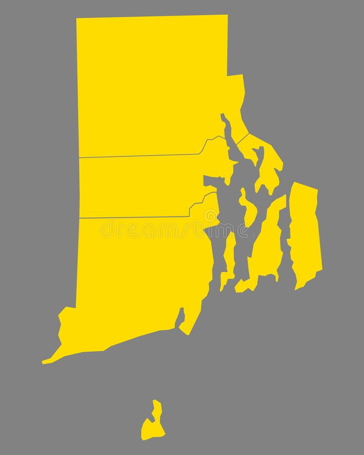Mapa rhode - wyspa ilustracji