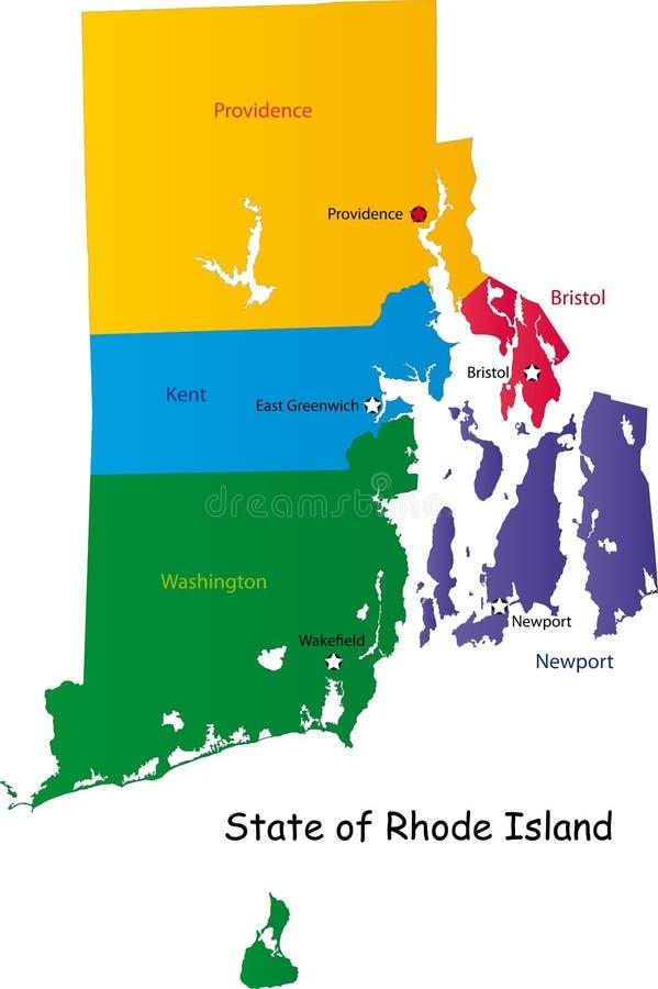 Mapa Rhode - wyspa stan ilustracja wektor