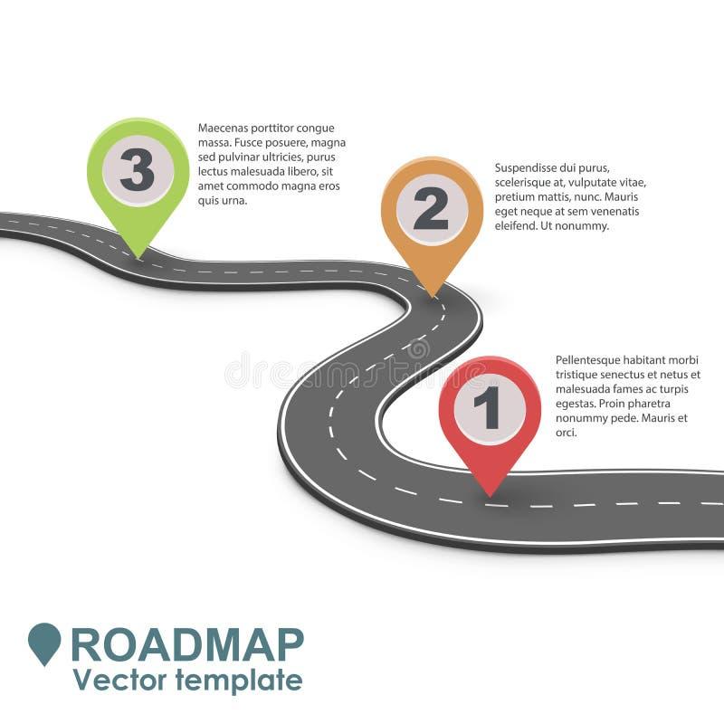 Mapa rodoviário abstrato Infographic do negócio ilustração stock