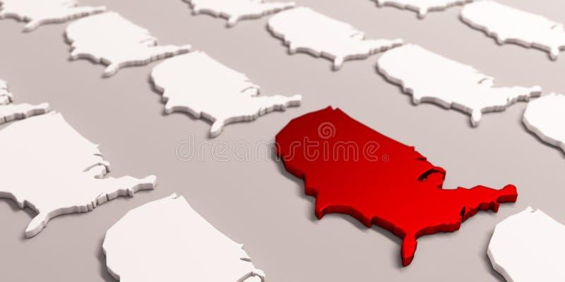 Mapa rojo de América Estados Unidos 3d rinden la ilustraci?n stock de ilustración