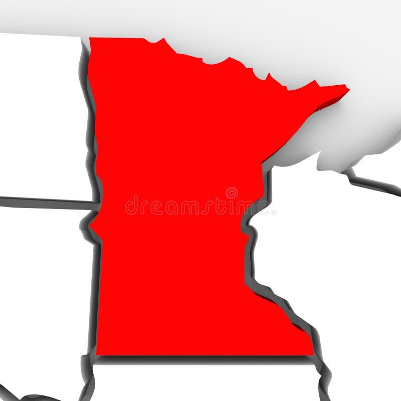 Mapa rojo Estados Unidos América del estado del extracto 3D de Minnesota ilustración del vector