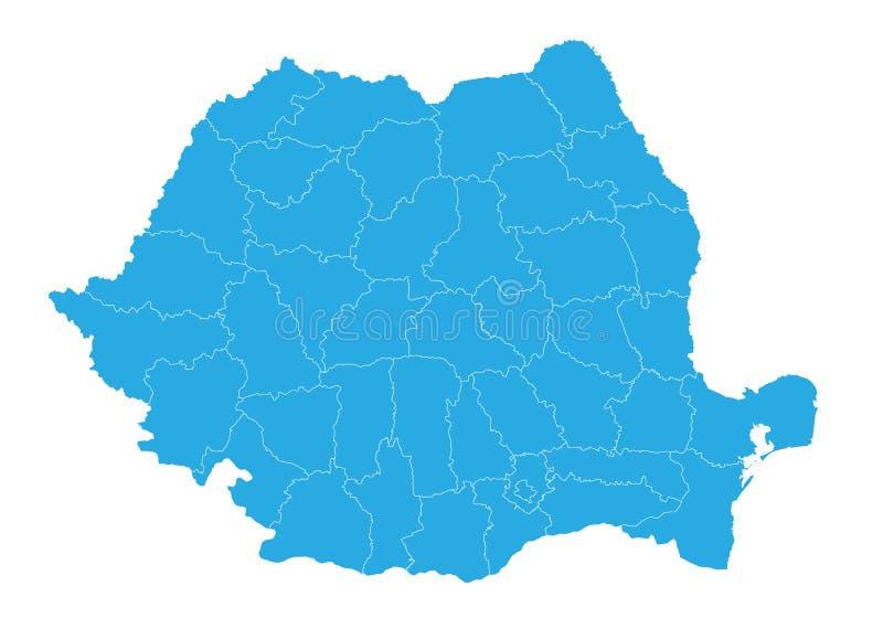 mapa Romania Wysokość wyszczególniająca wektorowa mapa - Romania ilustracja wektor
