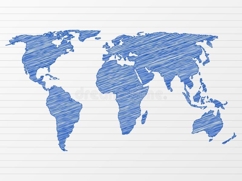 mapa rysunkowy świat ilustracja wektor