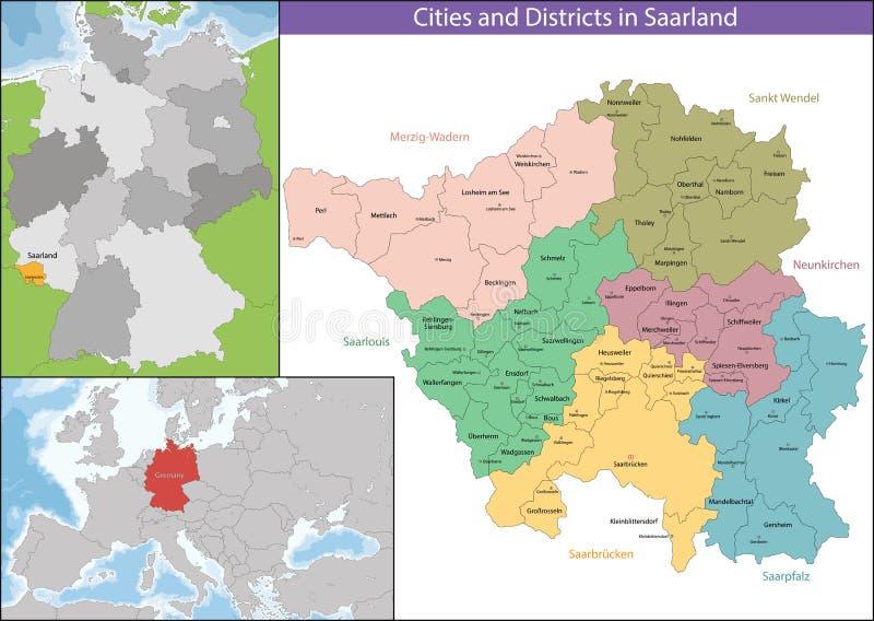 Mapa Saarland royalty ilustracja