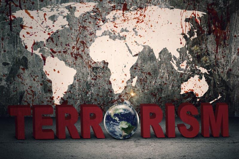 Mapa sangriento con el texto del terrorismo imagen de archivo libre de regalías