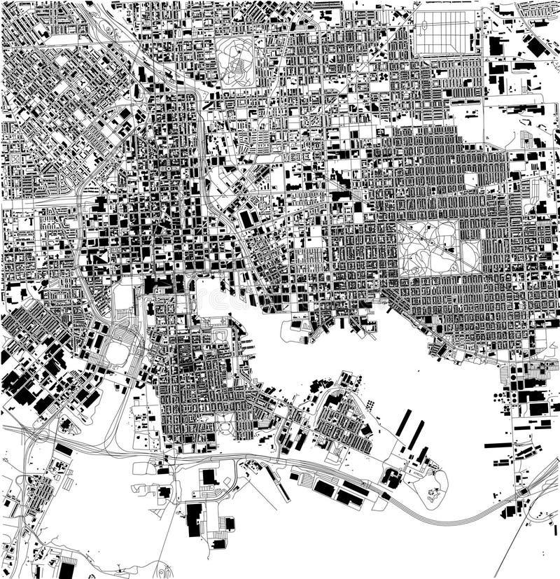 Mapa satélite de Baltimore, Maryland, ruas da cidade EUA ilustração do vetor