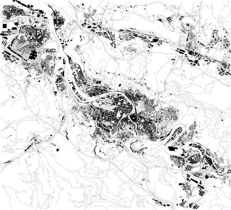 Mapa satélite de Bilbao, país Basque, Espanha Mapa das ruas e constru??es do centro de cidade ilustração stock