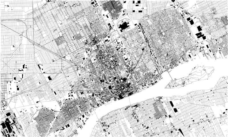 Mapa satélite de Detroit, Michigan, Estados Unidos Ruas da cidade ilustração royalty free