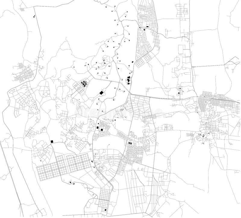 Mapa satélite de Naypyidaw myanmar Mapa das ruas e constru??es do centro de cidade ?sia ilustração stock