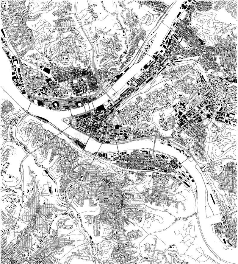 Mapa satélite de Pittsburgh, Pensilvânia, ruas da cidade EUA ilustração stock