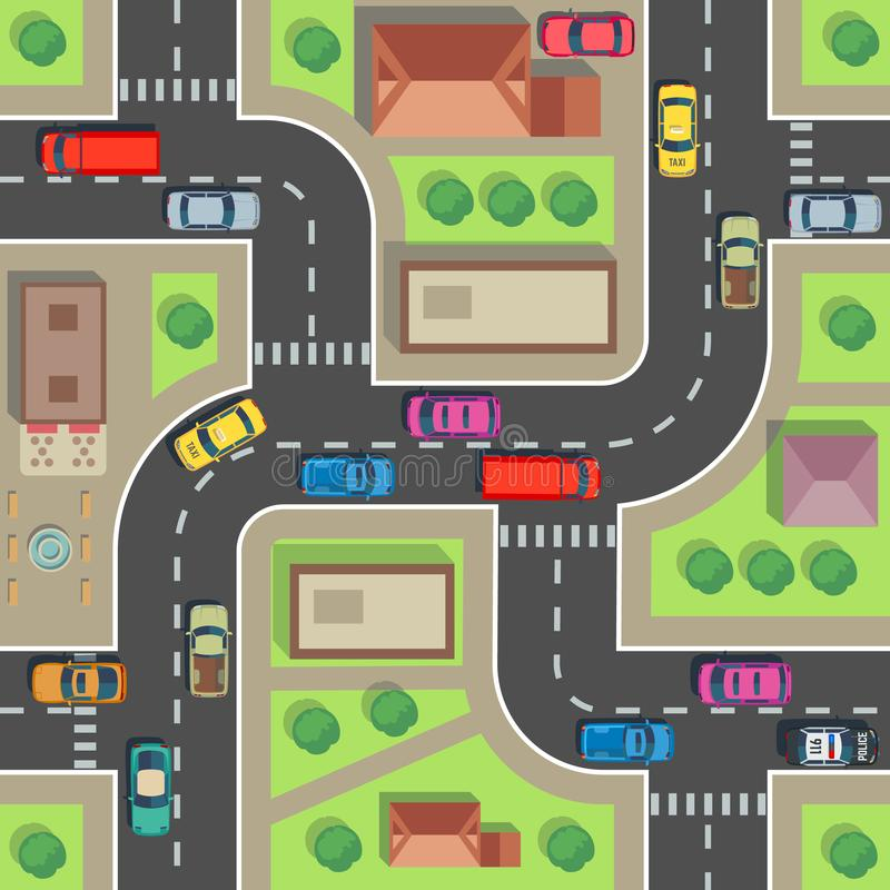 Mapa sem emenda da cidade Construção e rua da vista superior com carros e caminhões Textura infinita do vetor urbano do plano ilustração stock