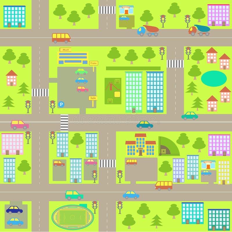 Mapa sem emenda da cidade dos desenhos animados ilustração royalty free