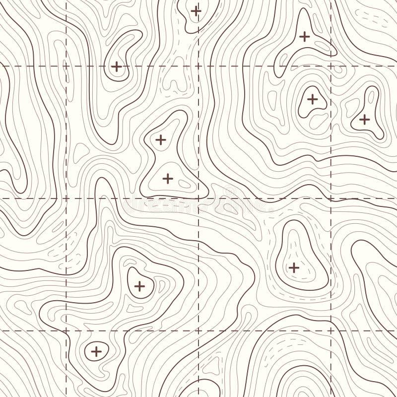 Mapa sem emenda topográfico do vetor da elevação do contorno ilustração stock