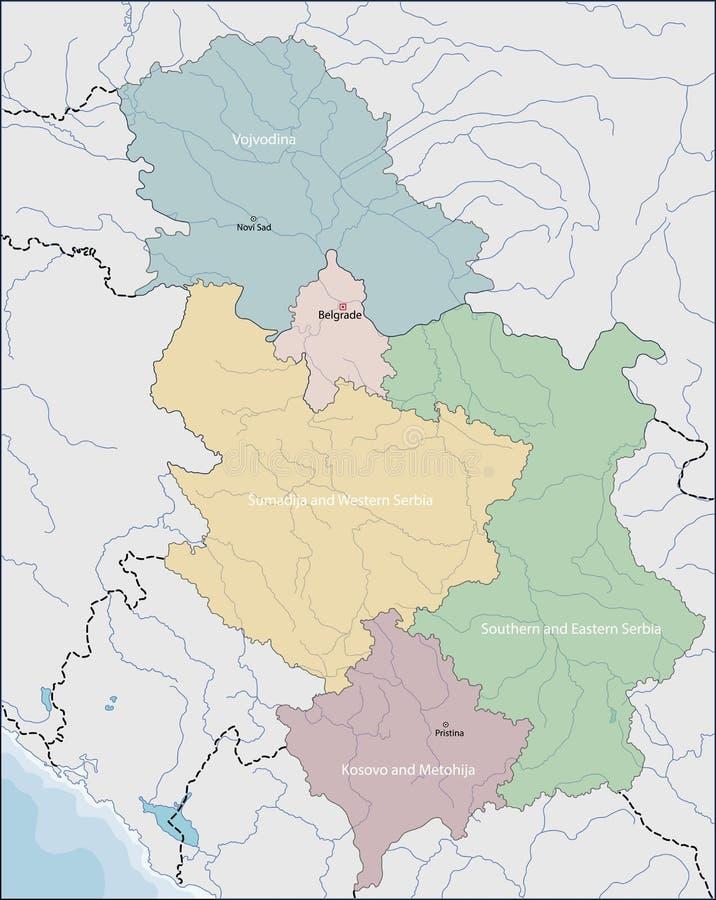 mapa Serbii ilustracja wektor