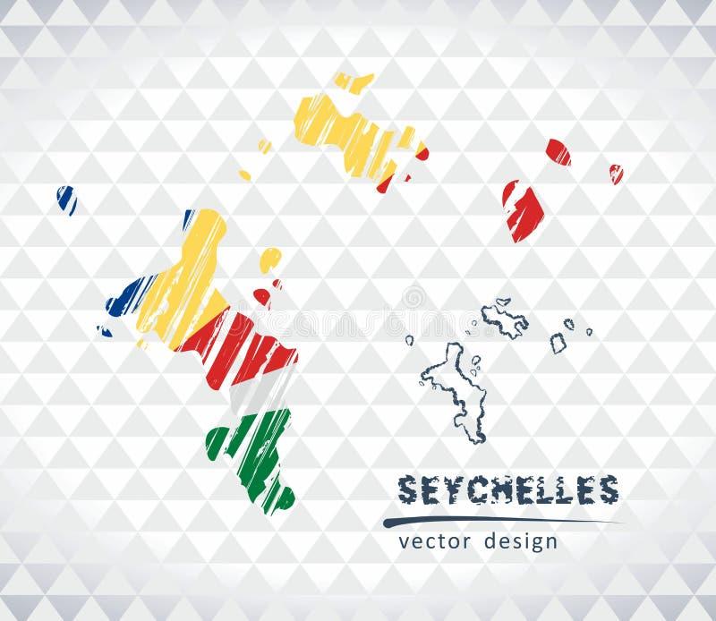 Mapa Seychelles z ręka rysującą nakreślenia pióra mapą inside również zwrócić corel ilustracji wektora royalty ilustracja