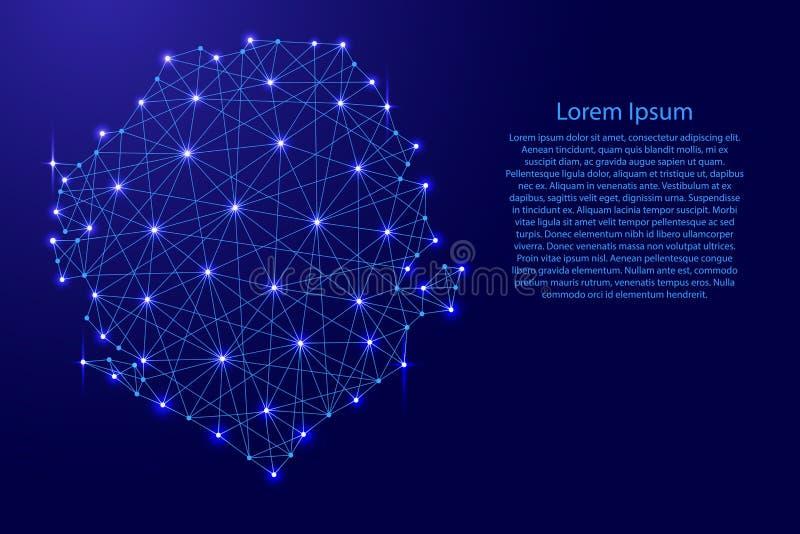 Mapa Sierra Leone od poligonalnych niebieskich linii, jarzy się gra główna rolę ilustrację royalty ilustracja