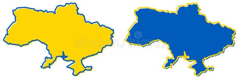 Mapa simplificado de Ucrania con el esquema de Crimea Terraplén y movimiento ilustración del vector