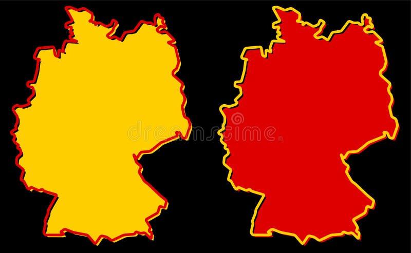 Mapa simplificado del esquema de Alemania El terraplén y el movimiento son nacionales stock de ilustración