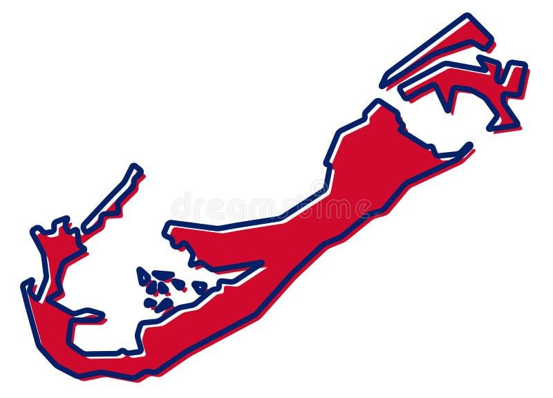 Mapa simplificado del esquema de Bermudas El terraplén y el movimiento son nacionales ilustración del vector