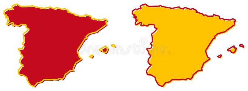 Mapa simplificado del esquema de España El terraplén y el movimiento son co nacional libre illustration