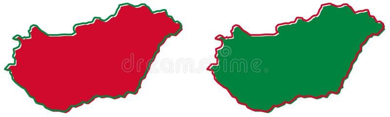 Mapa simplificado del esquema de Hungría El terraplén y el movimiento son nacionales stock de ilustración